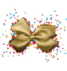 Golden gift bow over colorful confetti vector