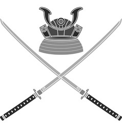 japanese helmet and swords vector image