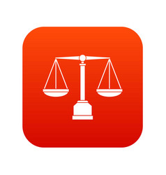 justice scale icon digital red vector image