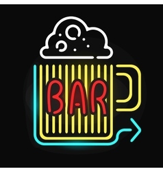 Neon bar cocktail pub sign glowing street vector