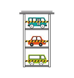 Parking building car bus van vehicle comercial vector