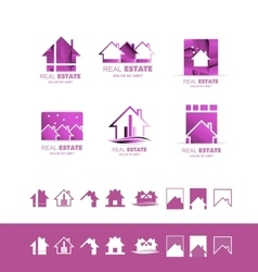 Real estate pink set logo icon purple vector
