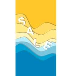 Sea and beach curve waves background sale word vector