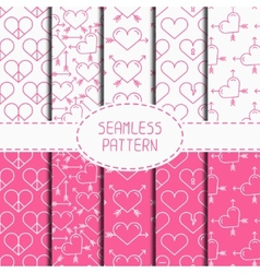 Set of pink romantic geometric seamless pattern vector image vector image