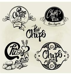 Set of potato chips labels design elements vector