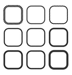 Set of square black monochrome rope frame vector