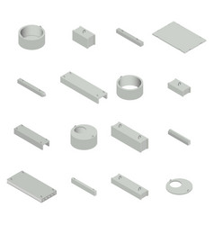 set the iron concrete products isometric vector image vector image
