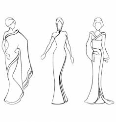 sketches of traditional Asian costumes vector image