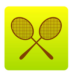 Tennis racquets sign brown icon at green vector
