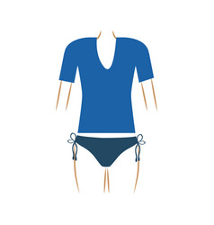 Thin contour of woman swimsuit thong and t-shirt vector