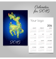 Two-sided calendar 2016 with reindeer garland vector