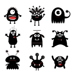 Black monster big set cute cartoon scary vector