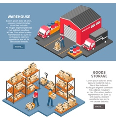 Logistics and delivery isometric banners vector