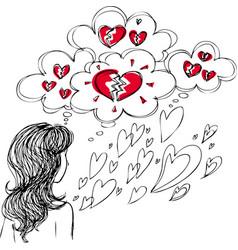 girl with broken heart vector image