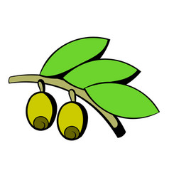 olives on branch with leaves icon icon cartoon vector image