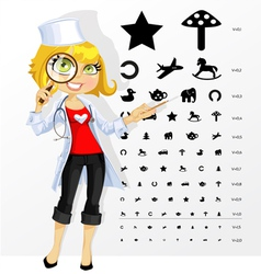 Cute doctor shows childrens table for eye tests vector