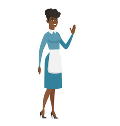 young african cleaner waving her hand vector image