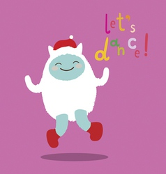 Cute dancing yeti character vector