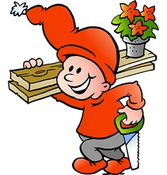 Hand-drawn of an happy christmas elf going to work vector