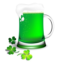 Green beer in glassware for st patricks day card vector