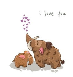 Cute cartoon card with mammoth vector