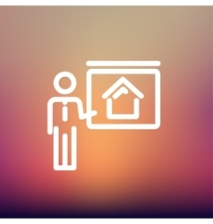 Real estate training thin line icon vector