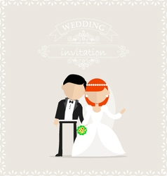 Wedding invitation with newlyweds on it vector