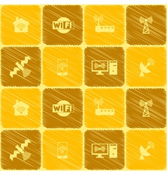 Seamless background with wi fi symbols vector