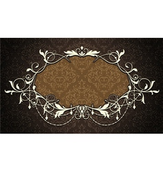 vintage label with damask background vector image