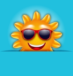 Cool summer sun in sunglasses beautiful card vector