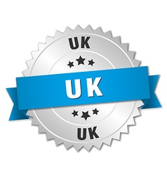 Uk round silver badge with blue ribbon vector