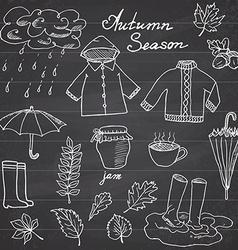 Autumn season set doodles elements hand drawn set vector