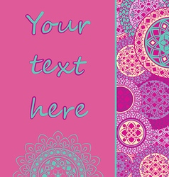 Background with mandalas in pink tones vector image vector image