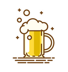 beer glass trendy flat linear icon line vector image