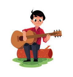boy playing guitar sitting on a log camping vector image vector image