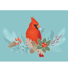 Cardinal on Christmas garland vector image vector image