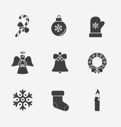Christmas silhouette icons collection vector