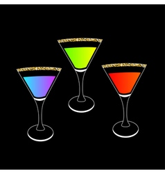 Cocktail set in martini glass party card glowing vector