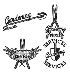 Color vintage gardening emblems vector