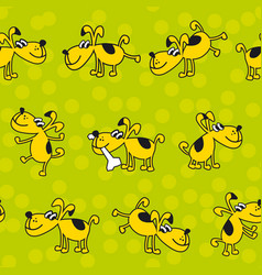 Cute kid style dog pat seamless pattern vector