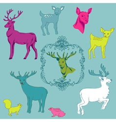 Deer Christmas Set vector image vector image