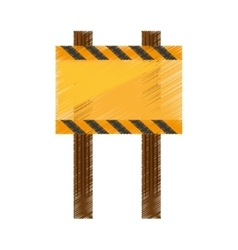 Drawing sign road rectangle caution empty vector