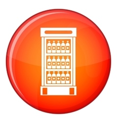 Fridge with refreshments drinks icon flat style vector
