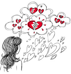 girl with broken heart vector image vector image
