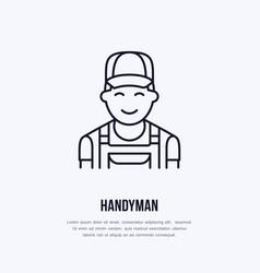Handyman services logo repairman flat line icon vector