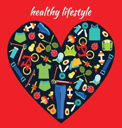 Healthy lifestyle background in heart shape health vector