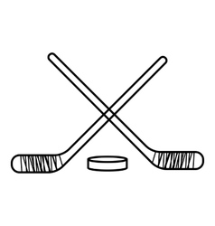 Hockey sticks with puck icon outline style vector