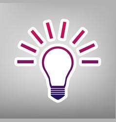 Light lamp sign purple gradient icon on vector