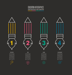 Pencil and rocket symbol timeline infographic vector