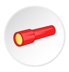 Red flashlight icon cartoon style vector